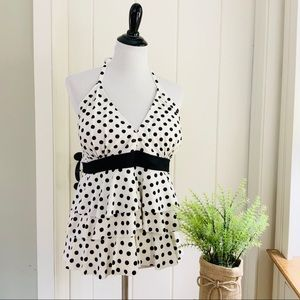 CATALINA Black & White Polka Dot Tankini Swim Top